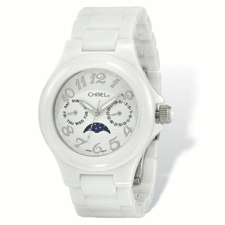 8d85aced3c593 Primal Steel Ladies Chisel White Ceramic White Dial Watch