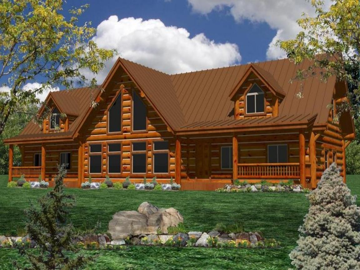 One Story Log Home Plans Large Homes House Single Mediterranean Log Home Plans Log Homes Log Home Floor Plans