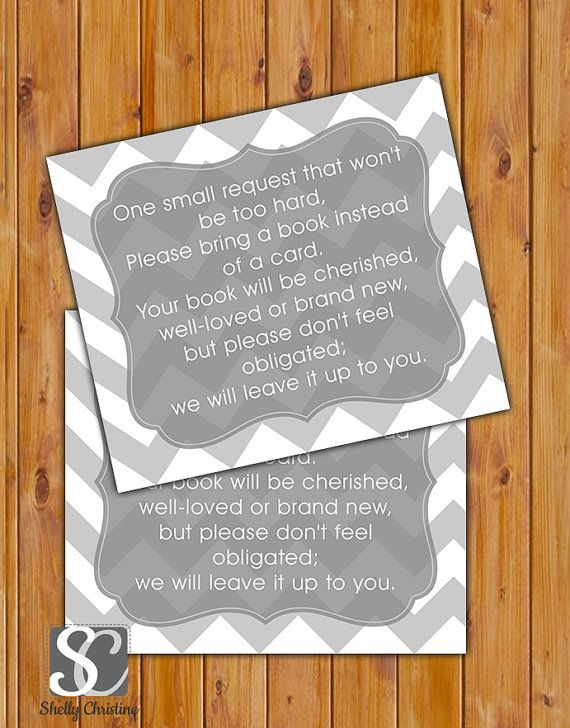 In Lieu Of A Card Bring A Book Baby Shower Part - 31: In Lieu Of Card, Book Baby Shower Invitation Inserts Instead Of A Card Grey  Chevron