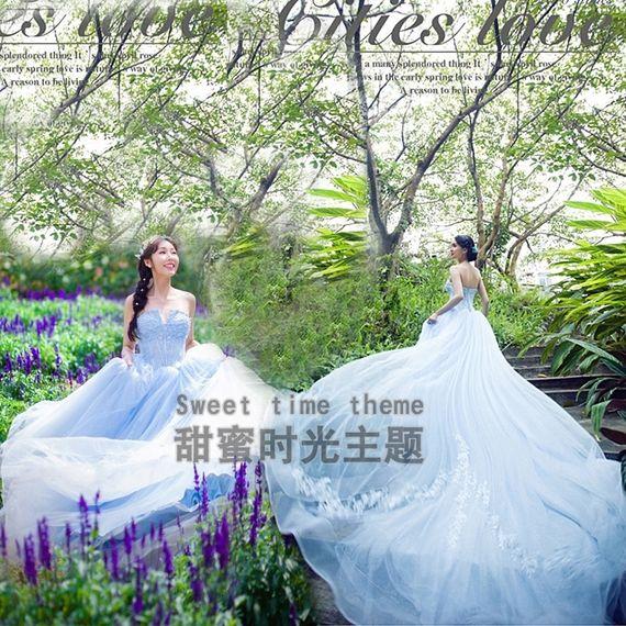 The New Sky Blue Tail Theme Wedding Photo Studio Clothing Sen Department Earance Dress