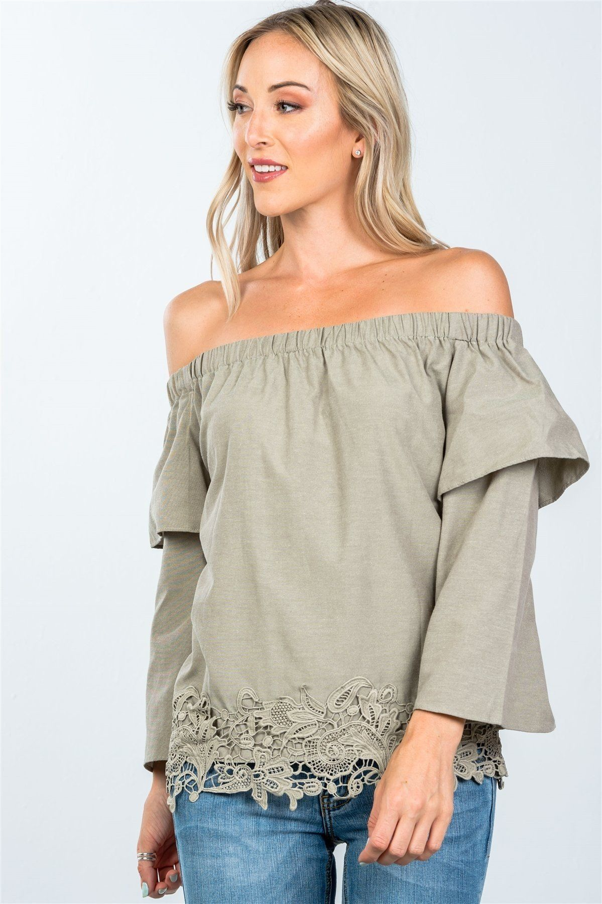 730acd9df12bb Boho Off Shoulder Crochet Hem Top - Just  21.95 at Mercantile Americana  with Free Shipping to all U.S. addresses!