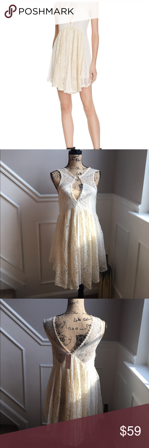 """NWT Free People Lace dress. XS Ivory/cream NWT. """"Don't you dare"""" lace dress from Free People in ivory/cream. Fashioned into a babydoll silhouette and edged up with cutouts and metallic rings, this Free People dress transforms ivory lace from classic to contemporary. Flowy. Round neck with ring detail, sleeveless, bust cutout. Empire waist, concealed zip side closure, asymmetric hem. V-back with ring detail, allover lace, partially lined. Approx. 35"""" from high point shoulder to hem. Free…"""