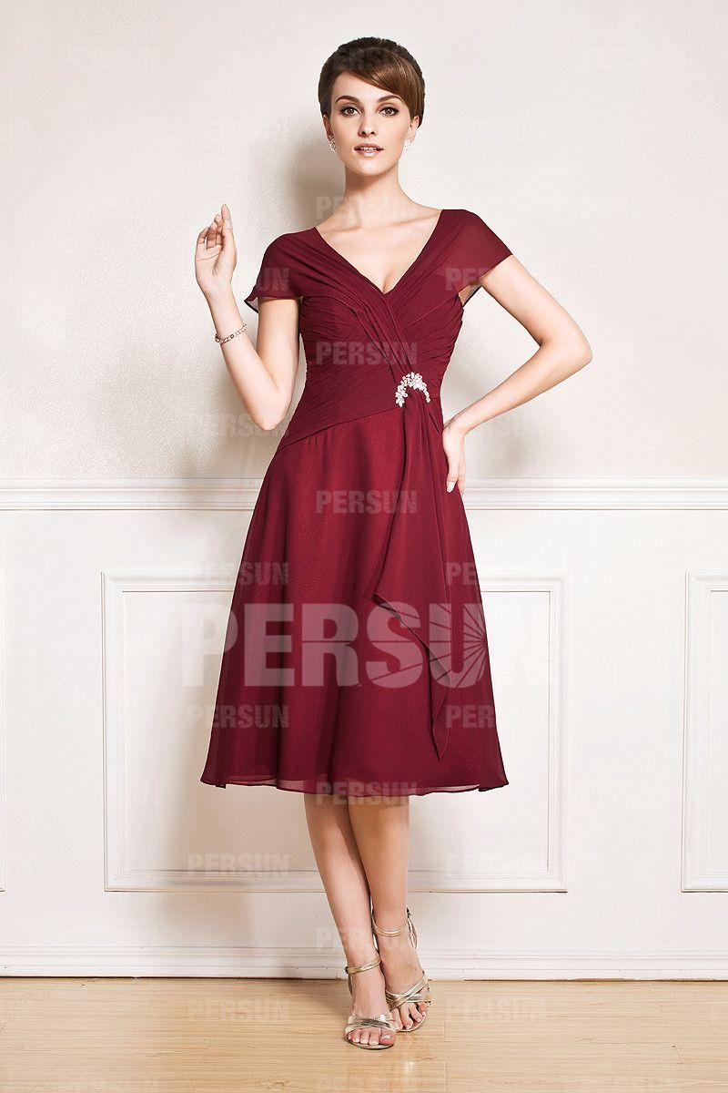 Robe courte col V à manche courte | Tea length, Bride dresses and ...