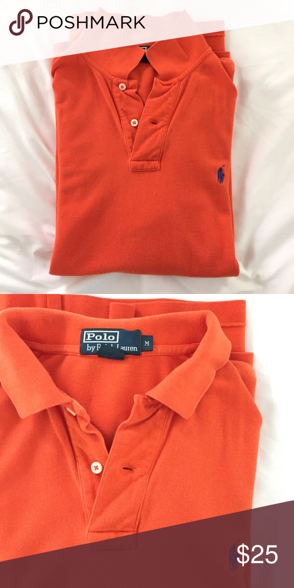 Ralph Lauren polo shirt Classic mesh knit polo. Orange with a blue horse - your shirt for game days in Gainesville. Size medium. Polo by Ralph Lauren Shirts Polos