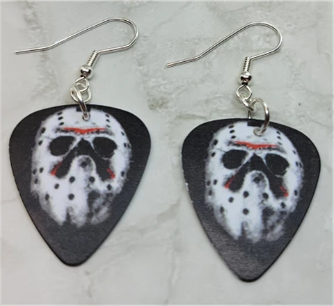 Jason Voorhees Hockey Mask Friday The 13th Guitar Pick Earrings Guitar Pick Jewelry Jason Voorhees Hockey Mask Hockey Mask