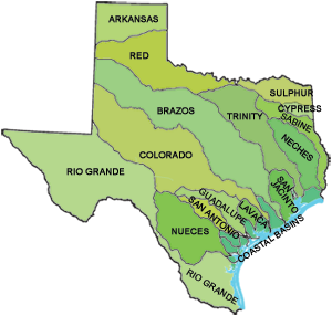 Texas Water Science Center USGS Texas Ecology Pinterest - Physical map of texas rivers