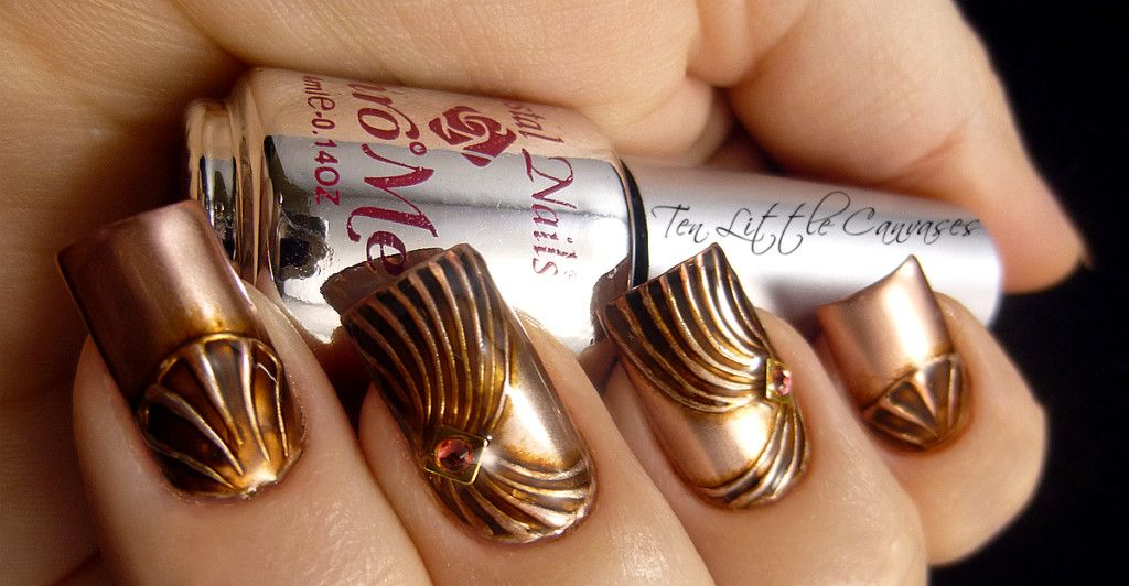 Weekly Mani Copper Chrome Nail Design Ten Little Canvases