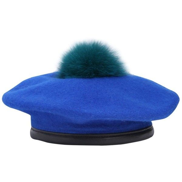 24630d75eeb EUGENIA KIM Hadley Wool Felt Beret With Fur Pompom - Royal Blue ( 210) ❤  liked on Polyvore featuring accessories