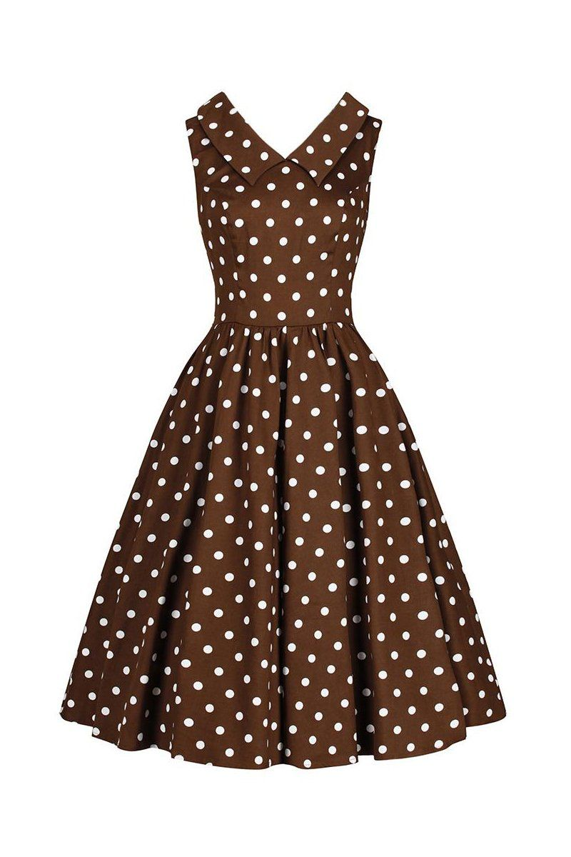 4cc8cbeb3055 Chocolate Brown and White Polka Dot Rockabilly 50s Swing Tea Dress ...