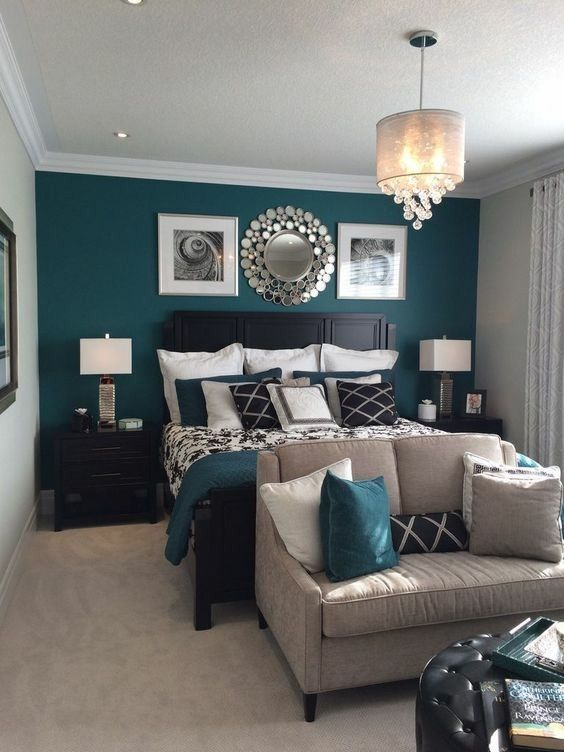 master bedroom, end table, bed side tables, teal, tan, bedroom ...