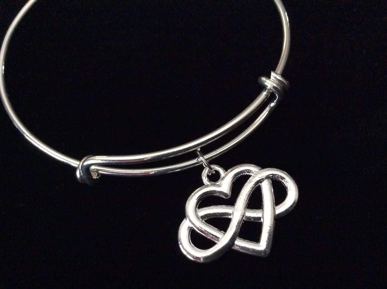 Infinity forever heart silver expandable charm bracelet adjustable