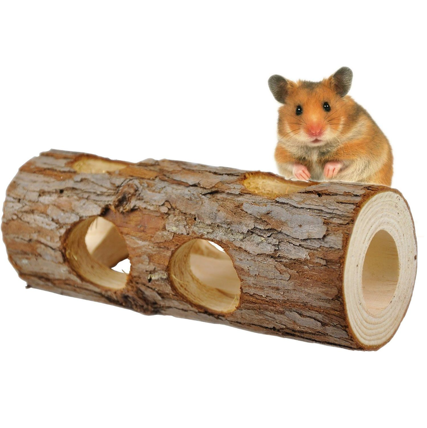Natural Wooden Hamster Tube Tunnel Toy Hideout Bed Nest House