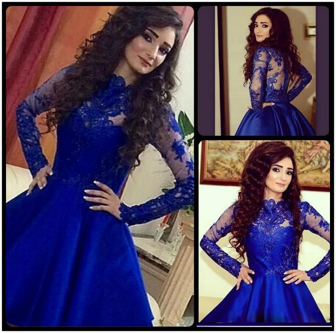 Lace Dresses 2016 Royal Blue Prom Dresses With Long Sleeves ...