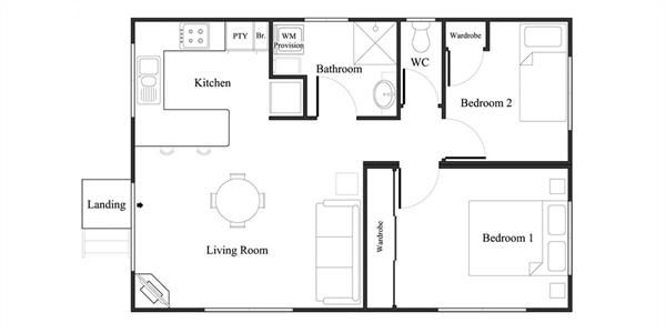 View The Floor Plan For The Myrtle 2 Granny Flat Design