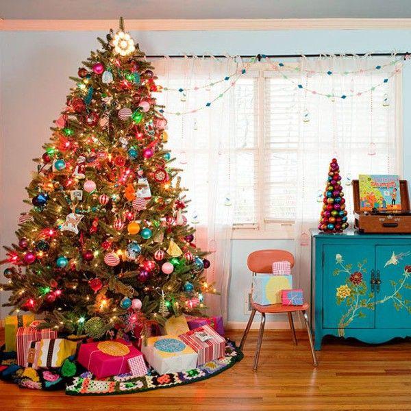 merry christmas living room christmas tree multi colored lights gifts idea - Multi Colored Christmas Trees