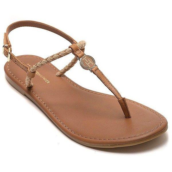 d83bf2fe819 Tommy Hilfiger T-Strap Flat Sandal found on Polyvore Sandalias Bajitas
