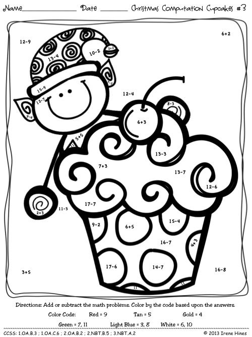 Christmas Computation Cupcakes Math Color By The Code Puzzles For December Winter And Chri Christmas Math Worksheets Christmas Math Activities Math Coloring