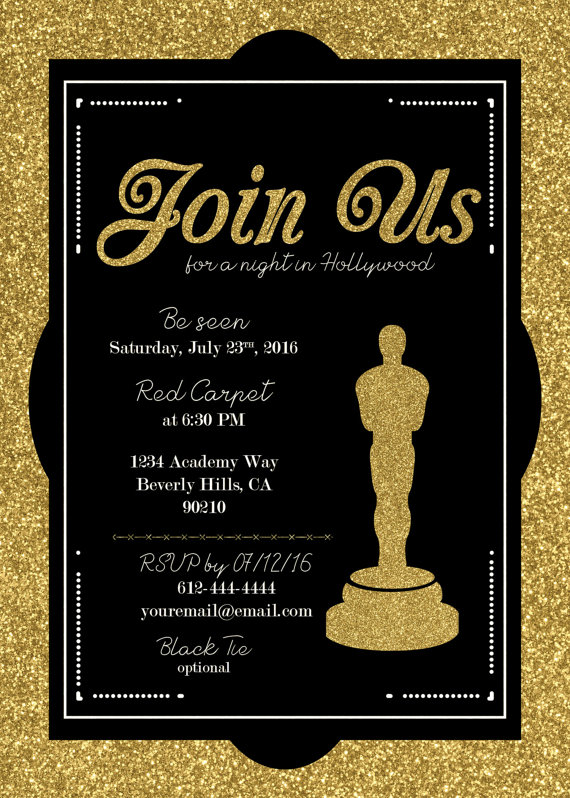 hollywood oscar party invitation academy awards invite. Black Bedroom Furniture Sets. Home Design Ideas