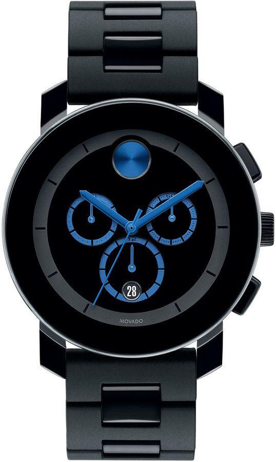 Farb-und Stilberatung mit www.farben-reich.com - Movado Bold 43.5mm Bold Chronograph Watch, Black/Blue