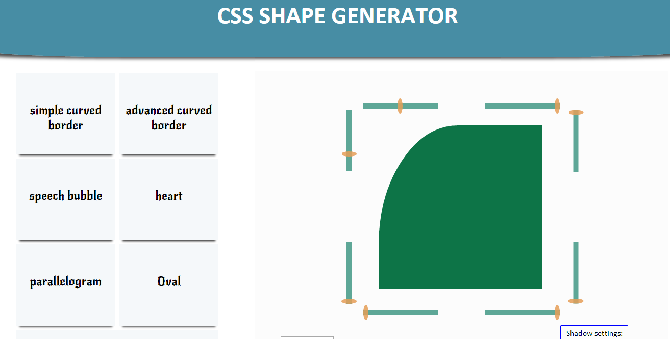CSS shape generator created by naam designs is a css3 tool that
