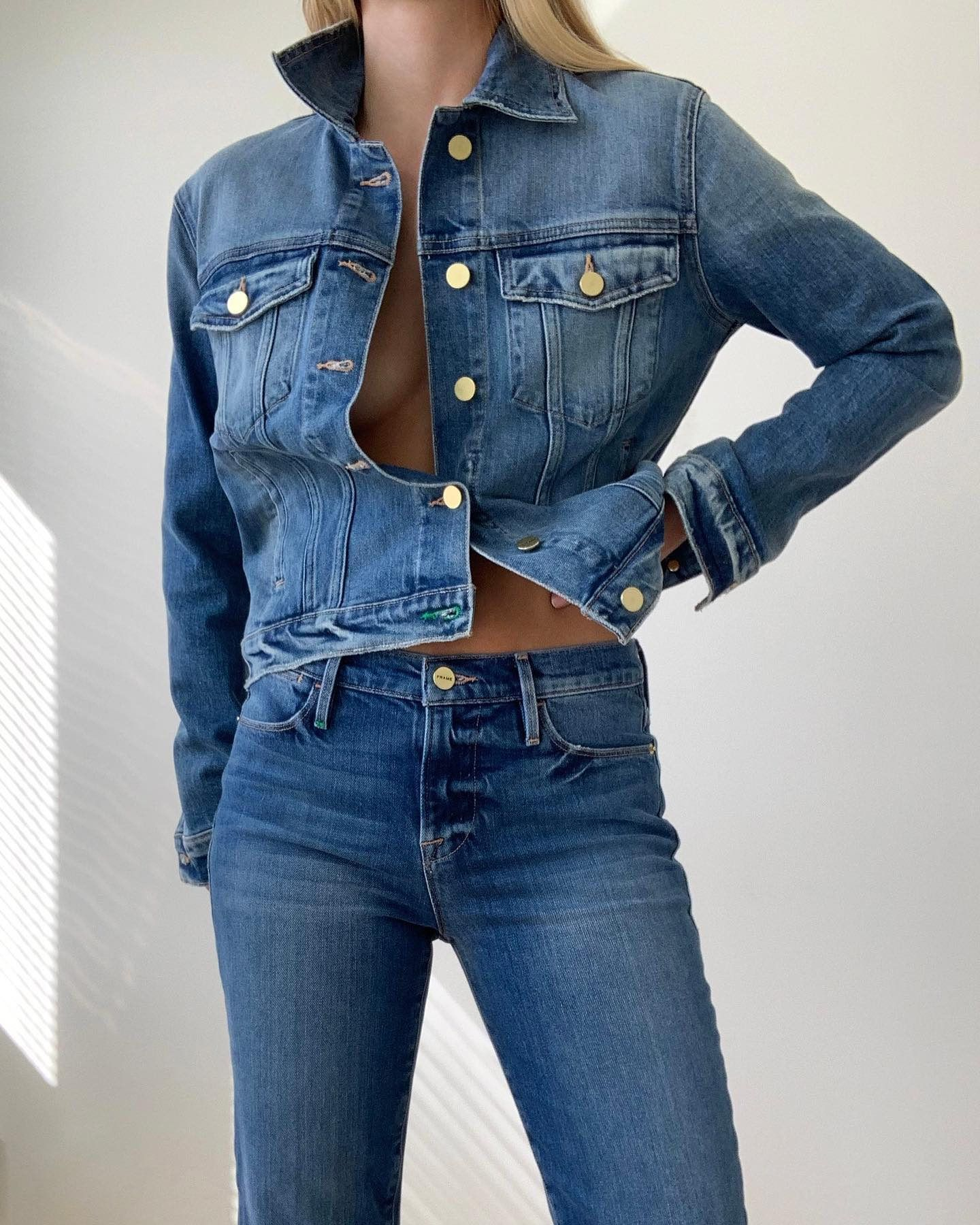 Frame Sustainable Denim In 2020 Blouse Outfit Denim Vintage Jacket