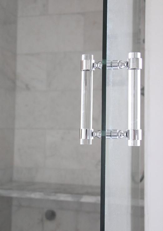 A Glass Walk In Shower Door Fitted With A Distinctive