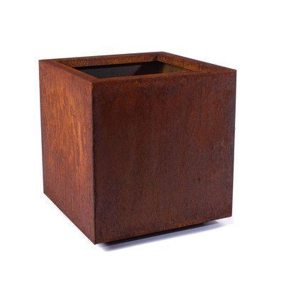 "Veradek Metallic Series Corten Steel Square Planter Box Size: Medium - 21"" L x 21"" W x 22"" H"