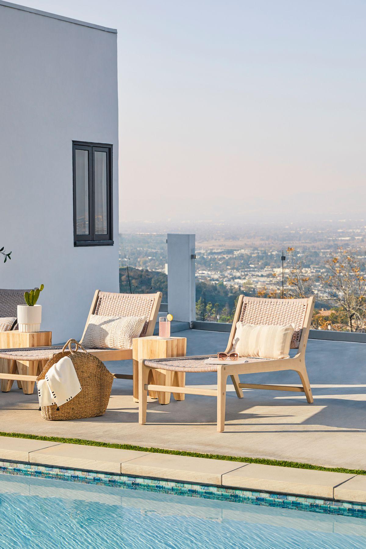 Reni Brushed Taupe Outdoor Lounger Modern Outdoor Lounge Chair Lounge Chair Outdoor Poolside Furniture Modern outdoor pool lounge chairs