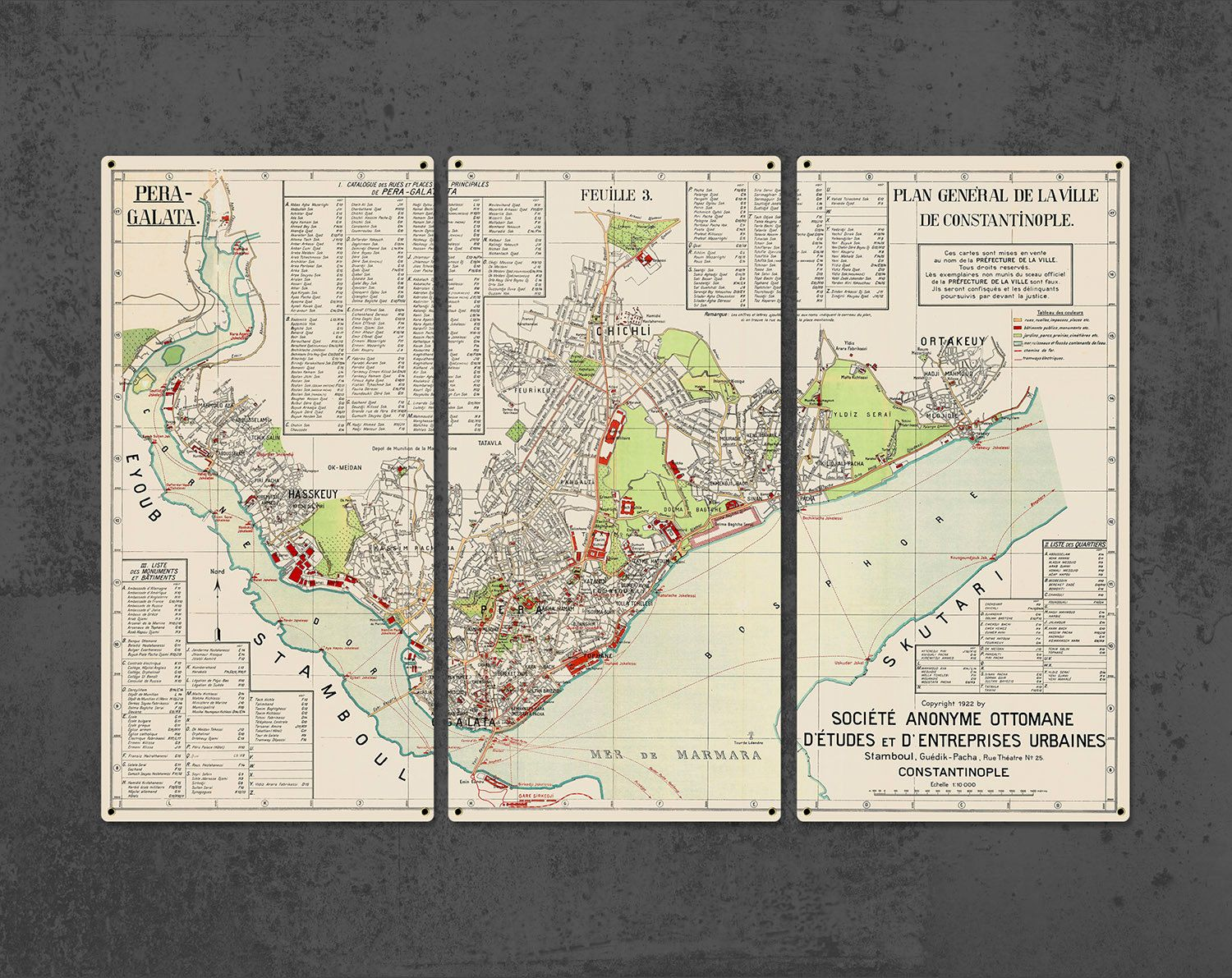 Vintage Constantinople Istanbul Metal Map Triptych 36x24 Quot Free Shipping Triptych Old Map Vintage World Maps