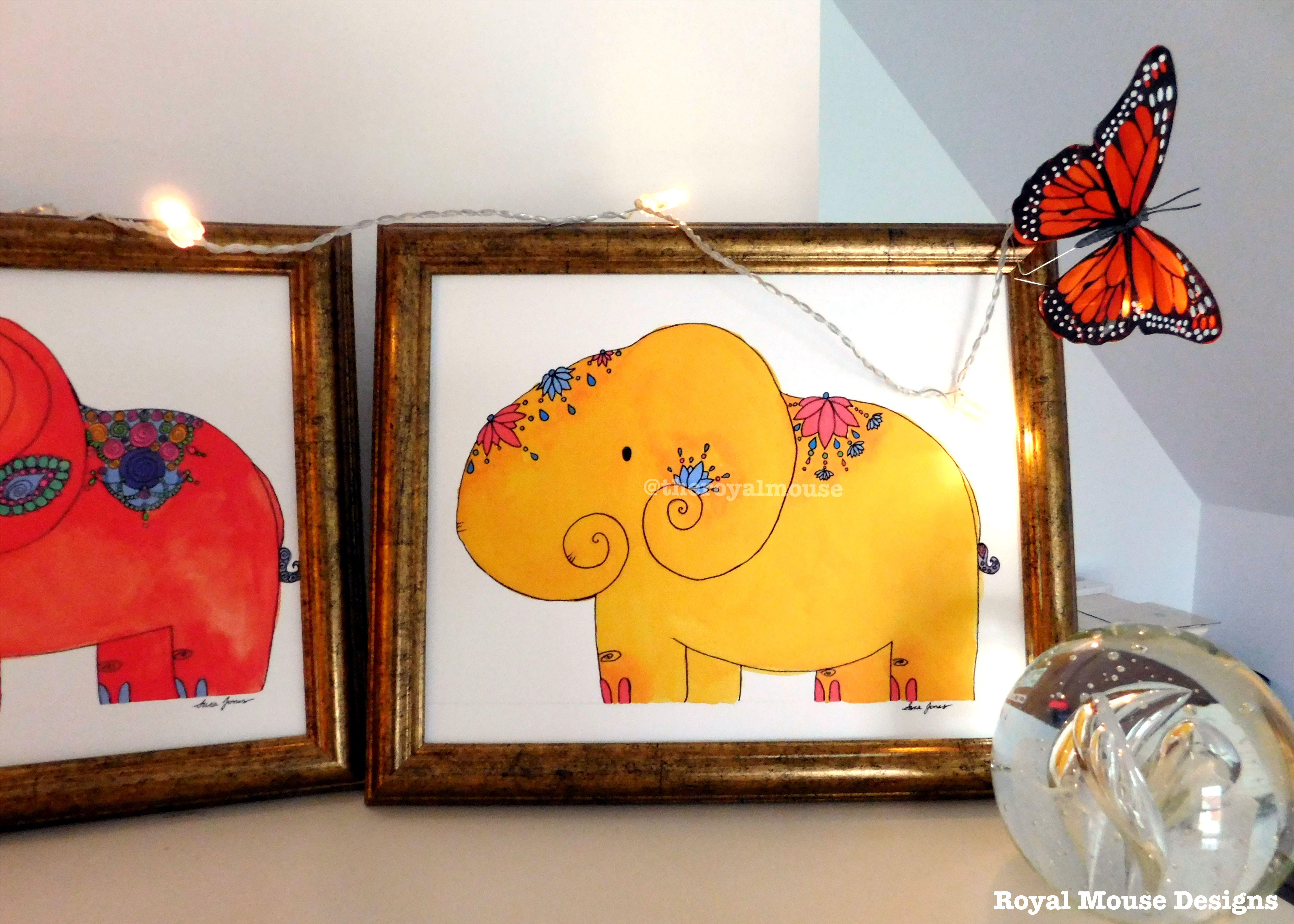 yellow, pink, elephant, baby, nursery, dorm, college, print ...