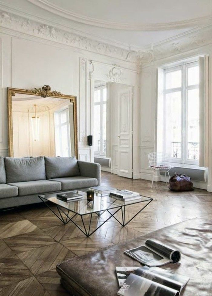 comment d corer avec le grand miroir ancien id es en photos miroir living. Black Bedroom Furniture Sets. Home Design Ideas