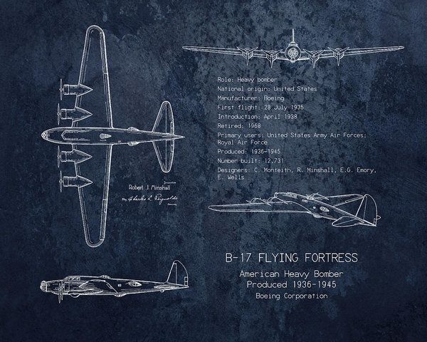 B 17 flying fortress blueprint art print art print by sara h art collectibles print featuring the digital art b 17 flying fortress blueprint art print malvernweather Choice Image