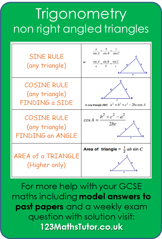 Trigonometry Non Right Angled Triangles Trigonometry Trigonometry Worksheets Gcse Math
