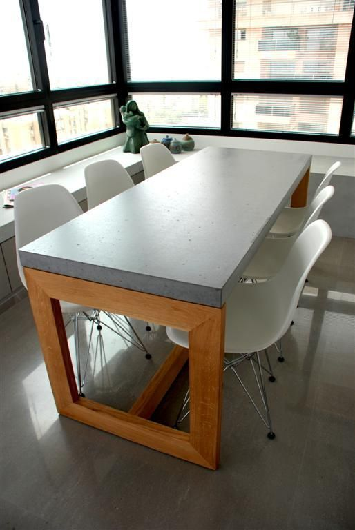 Dining table kitchen chairs and stools pinterest for Concrete kitchen table