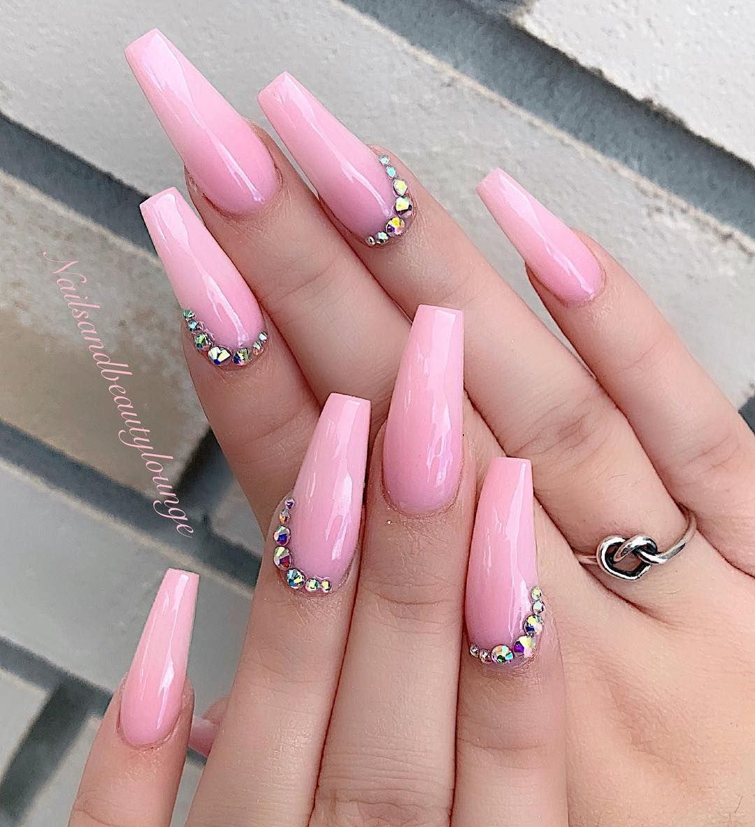 32 Super Cool Pink Nail Designs That Every Girl Will Love Light Pink Acrylic Nails Pink Nail Designs Rhinestone Nails
