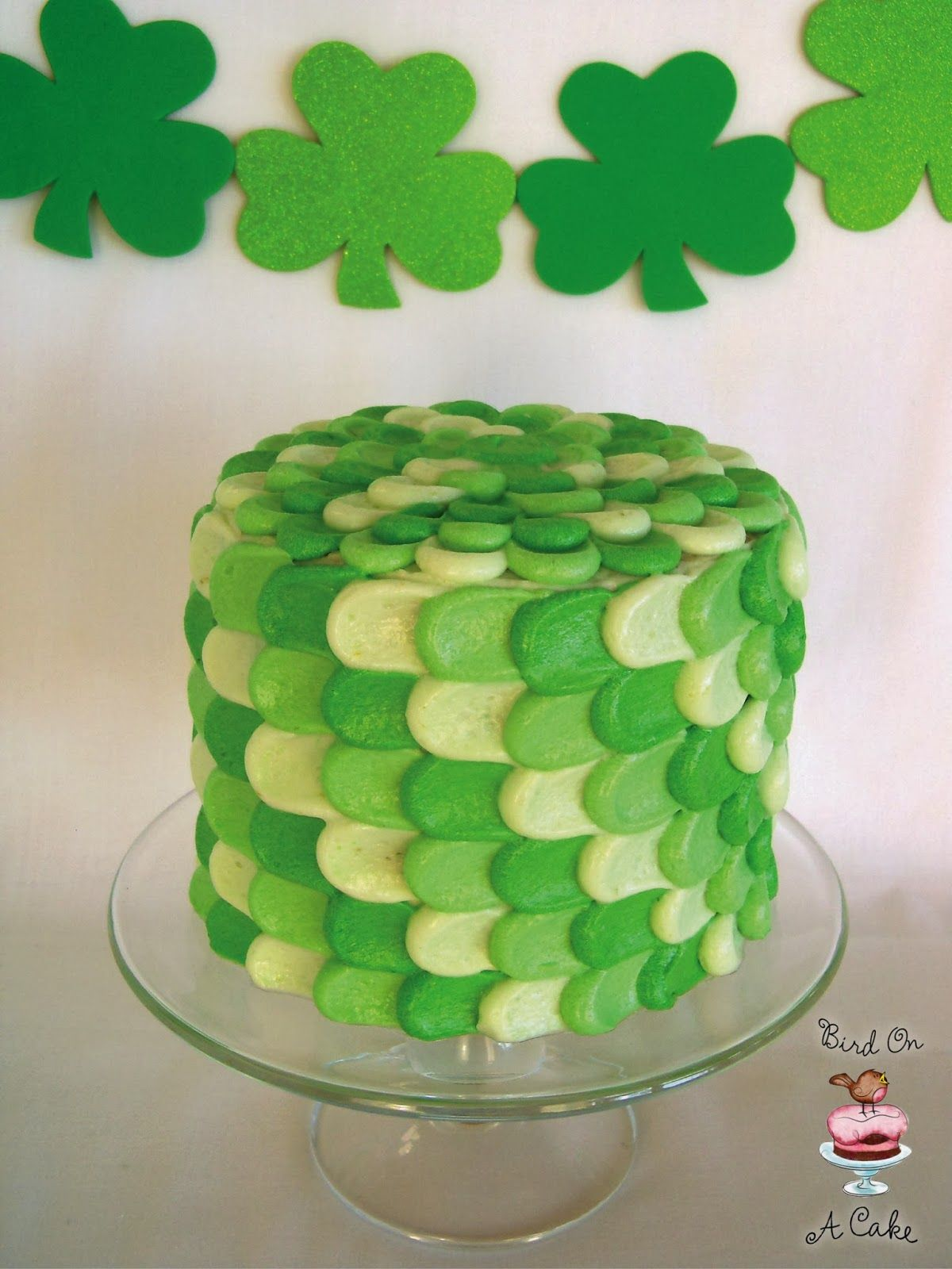 St. Patrick's Day Green Petal Cake - To view our full range of St Patrick's Day cake decorating supplies, please visit http://www.craftcompany.co.uk/occasions/saint-days.html