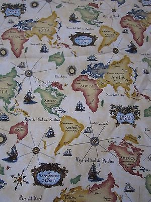 Old world map continents tall ships print woven upholstery fabric old world map continents tall ships print woven upholstery fabric quilting 7 yds gumiabroncs Images