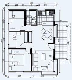 Plano de casa econ mica de 48m2 y 3 dormitorios proyecto for Planos de viviendas economicas