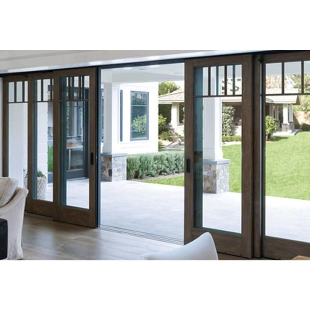 96 In X 81 In Center Slide Bronze Aluminum Multi Slide Foam Insulated Double Prehung Patio Door W Aluminum Frame 100 Majestosa The Home Depot In 2020 Patio Doors Sliding Patio Doors Front