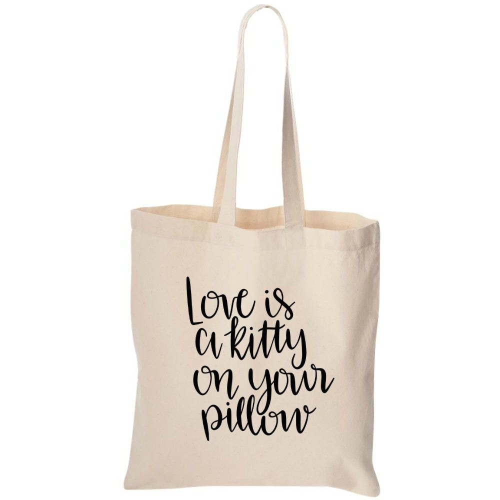 Cotton Canvas Tote Bag - Gift - Love Is A Kitty Cat - Monogrammed ...