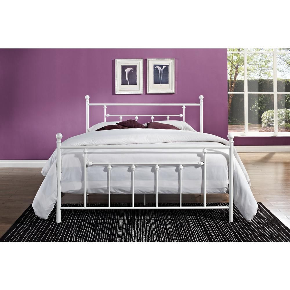 Dhp Manila White Queen Bed Frame 3236298 White Metal Bed