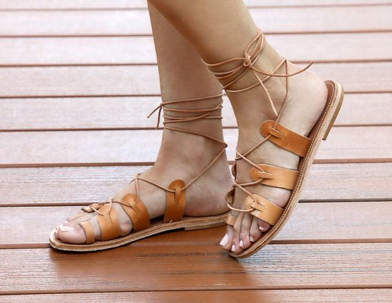 Womens Tan Leather Lace Up Gladiator Sandals, Tie Sandals,Flat Lace Up  Sandal, Gladiator Sandals, Tie Up Leather Flats, Tan Leather sandals