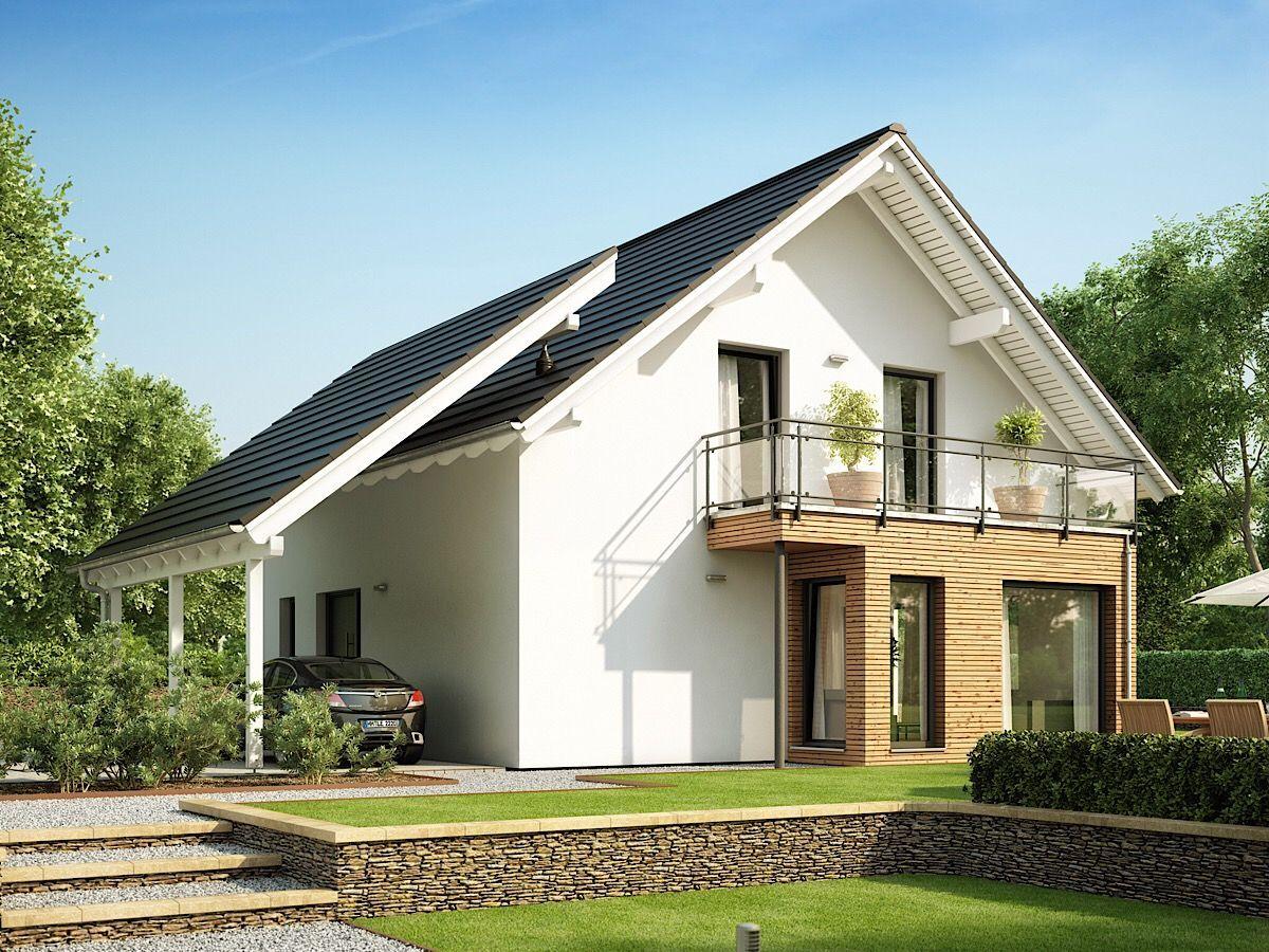 Modernes Haus mit Carport Garage, Satteldach Architektur