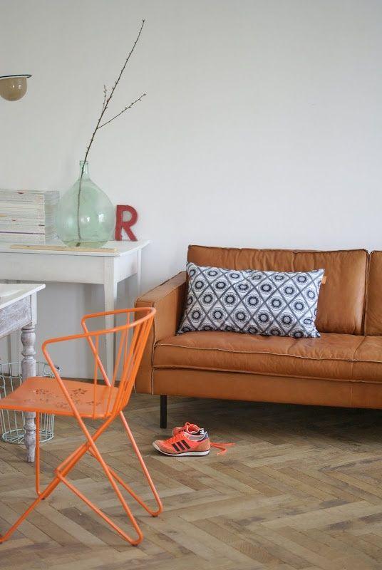 Leren Bank Oranje.9x Cognac Leren Banken Home Interieur Interieur Woonkamer En