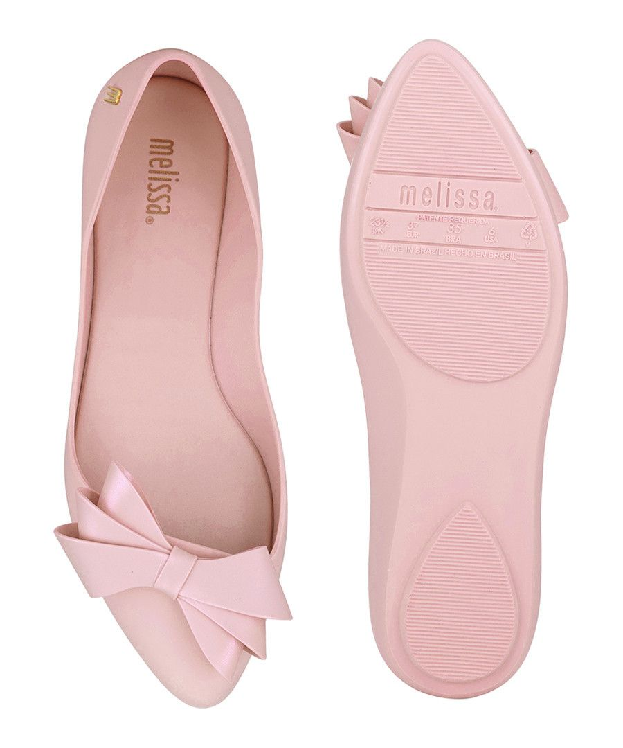 10121d9765c7 Melissa Soft pink rubber pointed bow flats