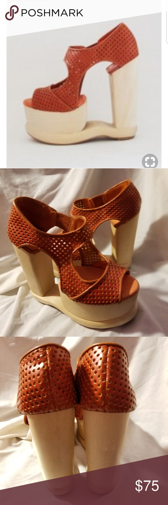 c339787f0f2 Jeffrey Campbell Skyroom platform heels 7 M woodie A dramatic three-piece wooden  platform and heel define a sky-high sandal fashioned from perforated nubuck  ...