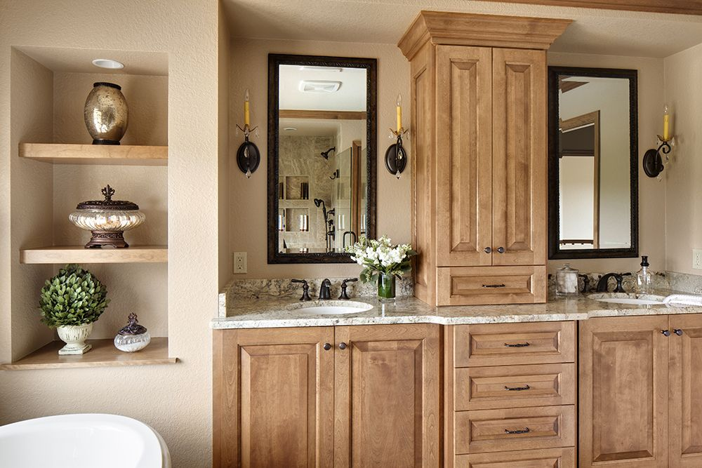 Master Bathroom Remodel Featuring A Custom Vanity, Granite Countertops, And  A Decorative Niche
