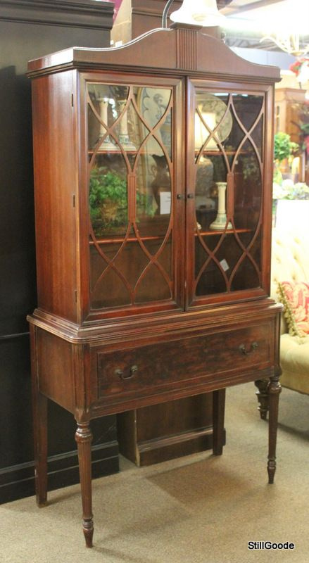Small Vintage China Cabinet With Double Glass Doors 1 Door 2