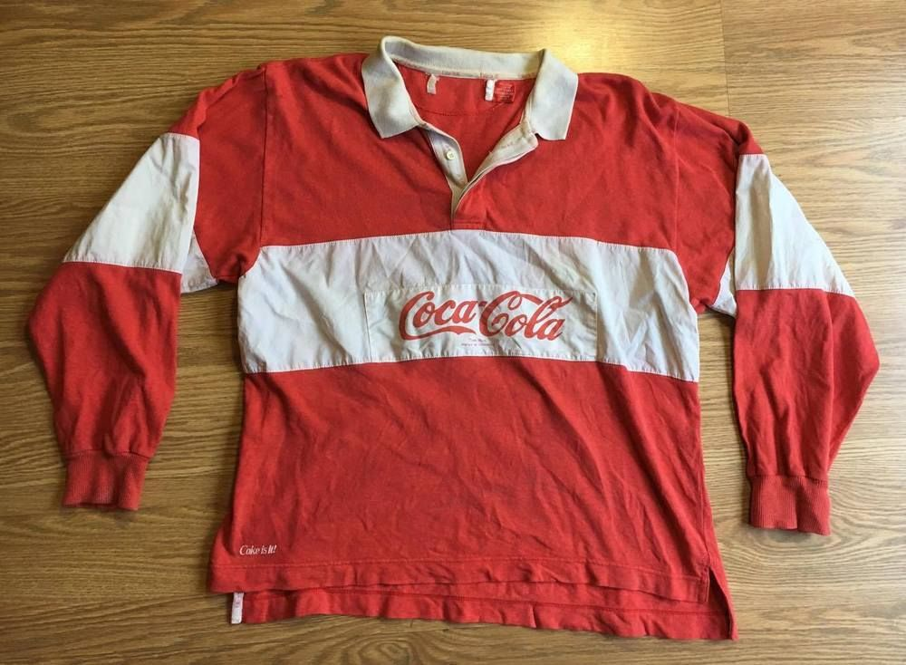46b7af4b Vintage Coca Cola Rugby Shirt Spell Out Polo 1980s Coke Soda Pop Sz L # CocaCola #PoloRugby