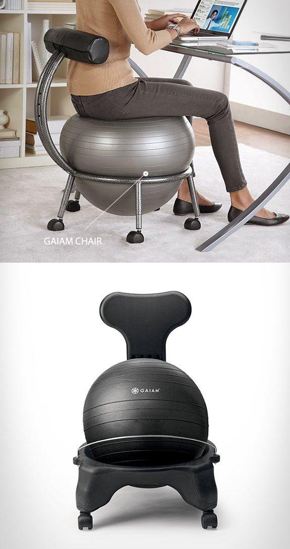 chaise avec balle de fitness